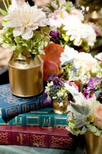 Beautiful hand painted gold jars Photo from weddingchicks.com